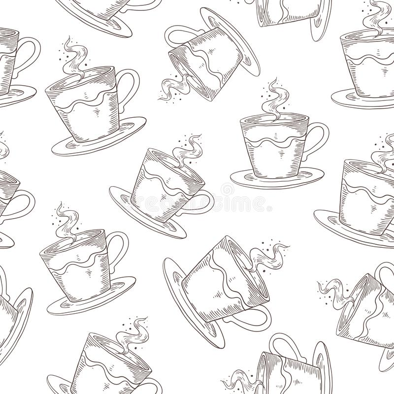 Hand drawn coffee pattern. Cute seamless print with coffee or tea mugs, morning drink sketch. Vector vintage print royalty free illustration
