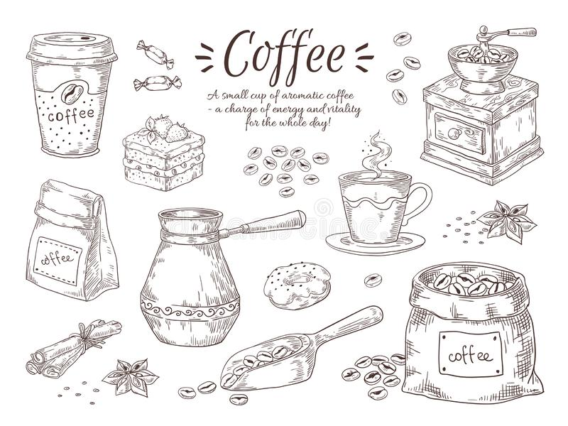 Hand drawn coffee. Vintage Italian drink with breakfast desserts and spices, coffee maker and grinder sketch. Vector stock illustration