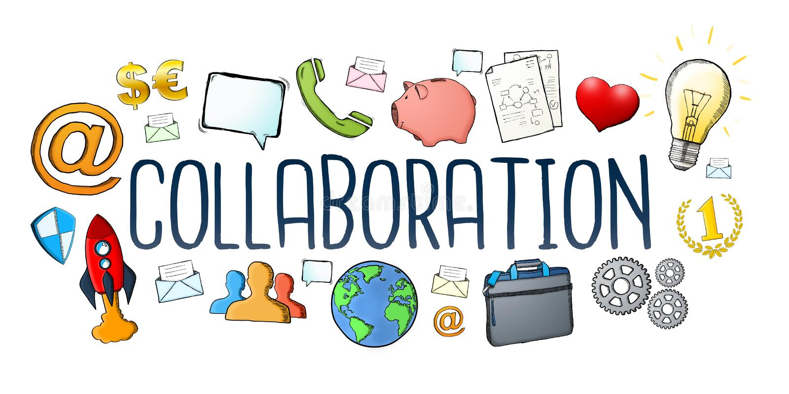 Hand-drawn collaboration text with icon royalty free illustration