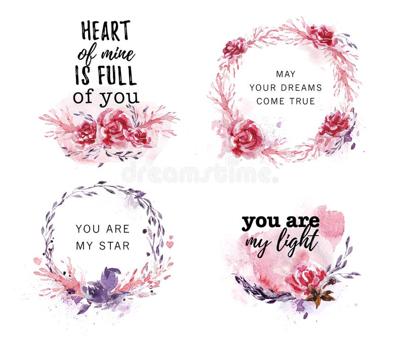 Hand drawn collection of artistic love, wedding, Valentine congratulation design. S with text message, watercolor elements, flowers, frames, wreath, paint drops vector illustration