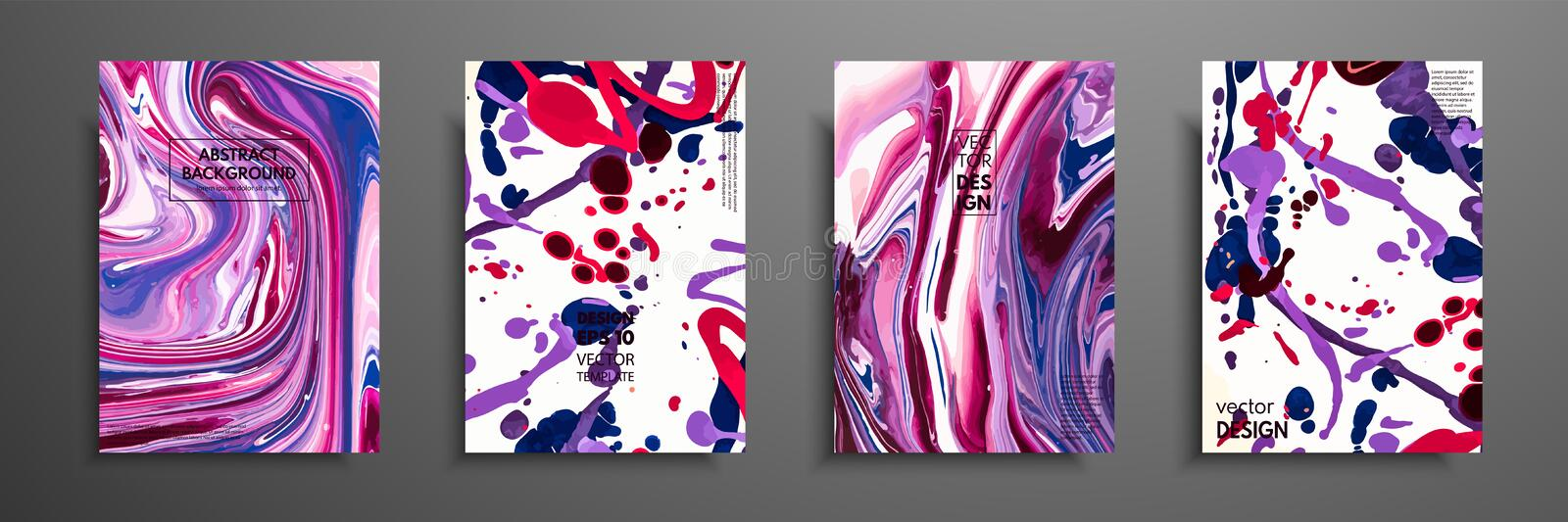 Hand drawn collection of card made by acrylic homemade texture. Liquid colorful texture. Fluid art. Abstract painting templates. D stock illustration