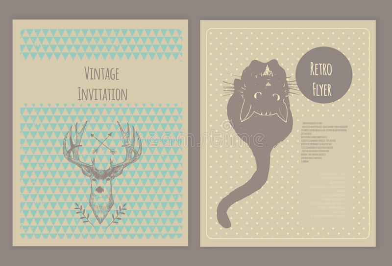 Hand Drawn Collection Of Cute Vintage Flyers. Stock Illustration ...