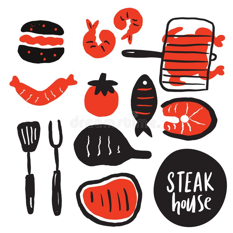 Hand drawn collection of grilled meat, steak etc. Steak house. Grill, steak restaurant menu concept. Vector.  royalty free illustration