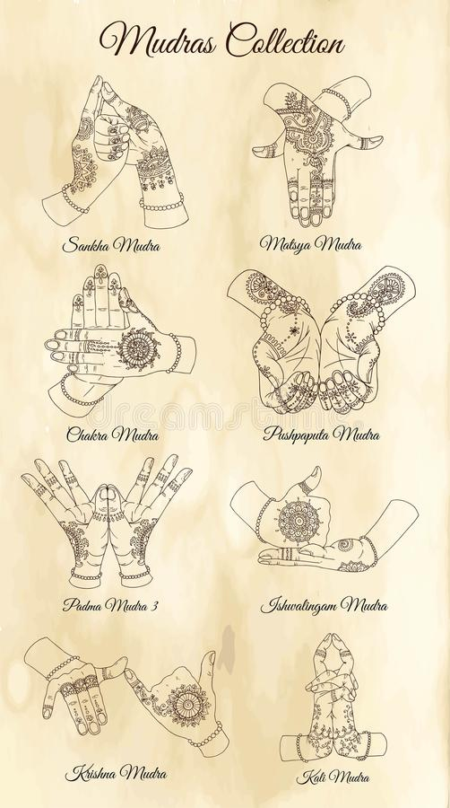 Hand drawn collection with mudras on two hands on textured background stock illustration