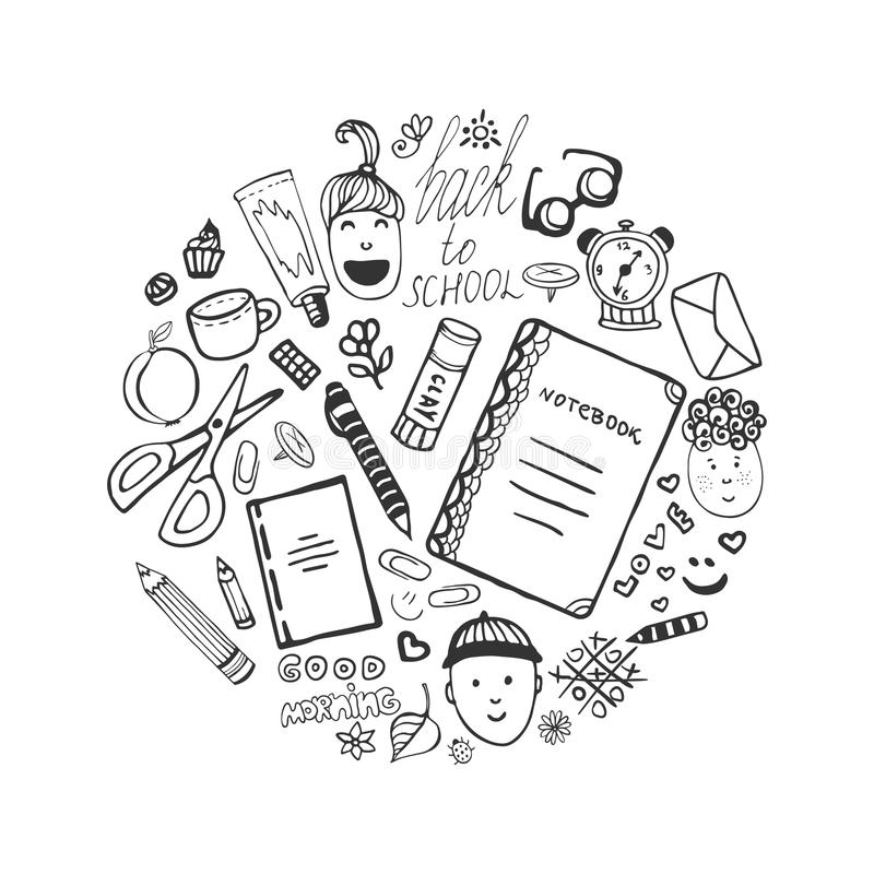 Hand drawn collection with school stationery and children icons. Vector office set in doodle style. Back to school. royalty free illustration