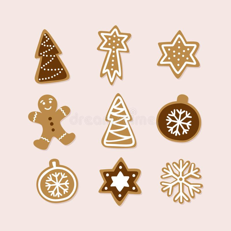 Hand drawn collection of traditional Christmas cookie. Cute gingerbread set. Vector illustration stock illustration