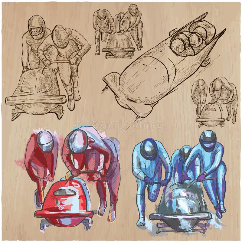 Winter Sport - BOBSLEIGH. An hand drawn vector pack. An hand drawn collection, vector pack - Sporting events - Winter sport - BOBSLEIGH. Line art technique royalty free illustration