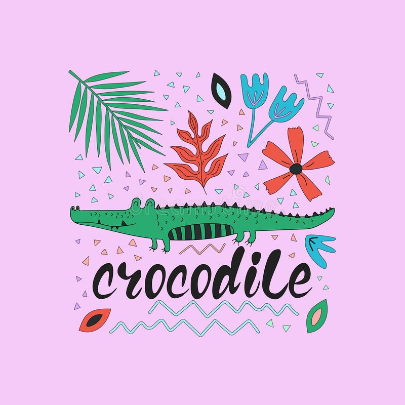 Hand drawn colorful crocodile with flowers and leaves. vector illustration