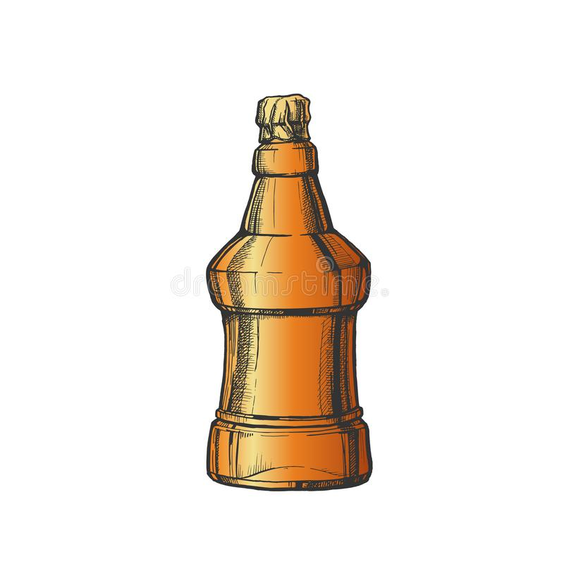 Hand Drawn Color Embossed Bottle Of Beer Vector royalty free illustration