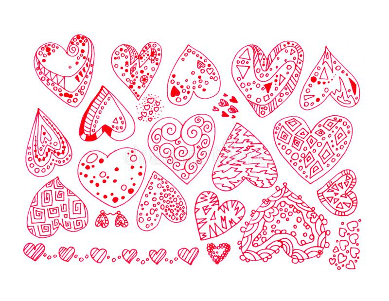 Hand-drawn color lines set of red intricate abstract love hearts stickers with ornaments isolated on white background stock illustration