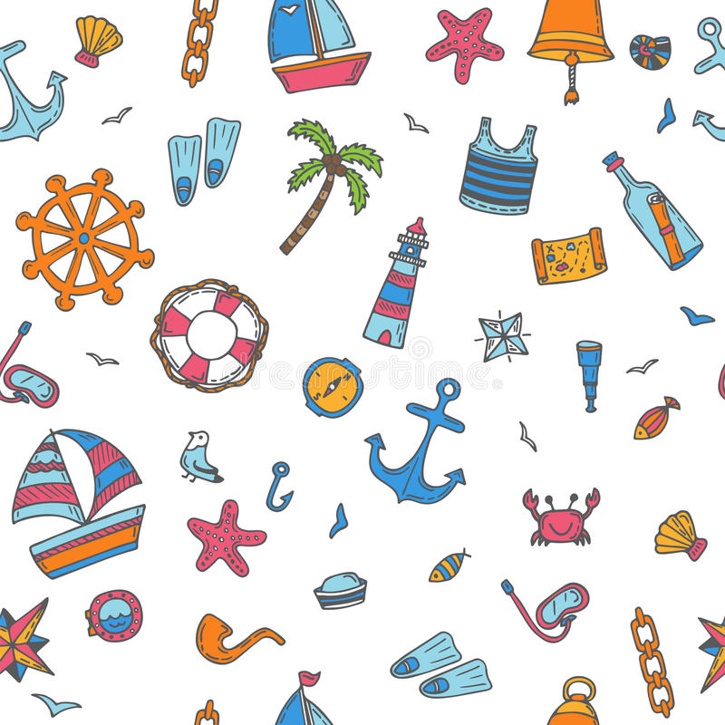 Hand drawn color seamless pattern with nautical elements. Nautical icons. Marine symbols vector illustration
