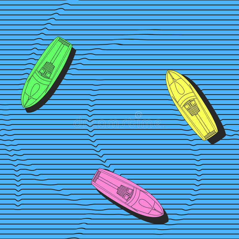 Free Hand Drawn Colorful Boats On The Sea Surface, Vector Seamless Pattern. Repeating Elegant Background With Marine Theme. Stock Images - 72003204