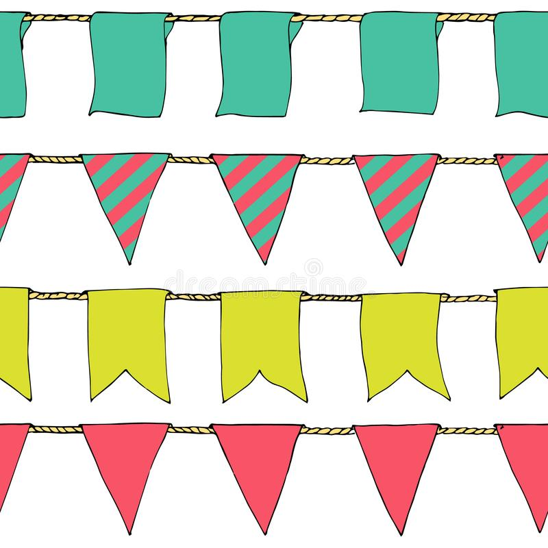 Hand drawn colorful doodle bunting banners horizontal seamless pattern. Doodle banner seamless pattern, bunting flags, border sket. Ch. Bright Decorative royalty free illustration