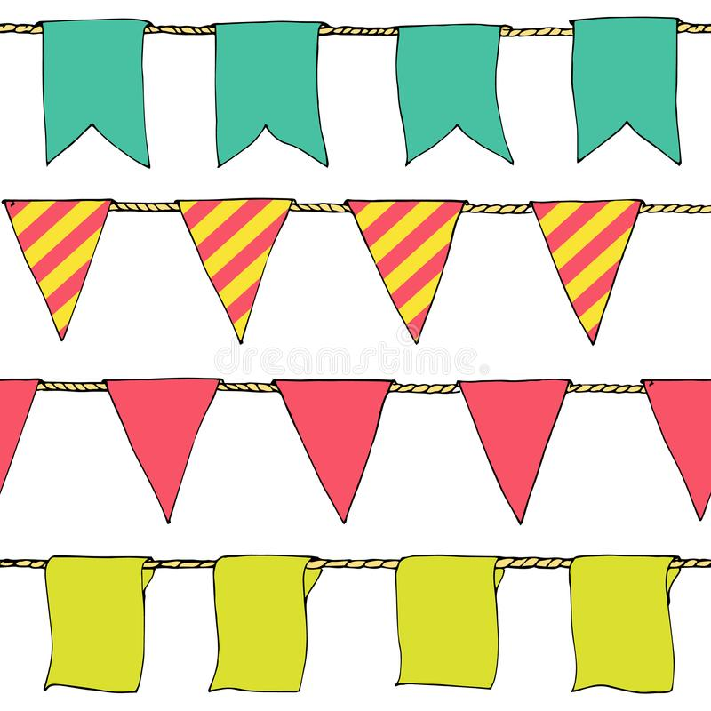 Hand drawn colorful doodle bunting banners horizontal seamless pattern. Cartoon bunting flags, banner, sketch border. Bright Decor. Ative elements for design stock illustration
