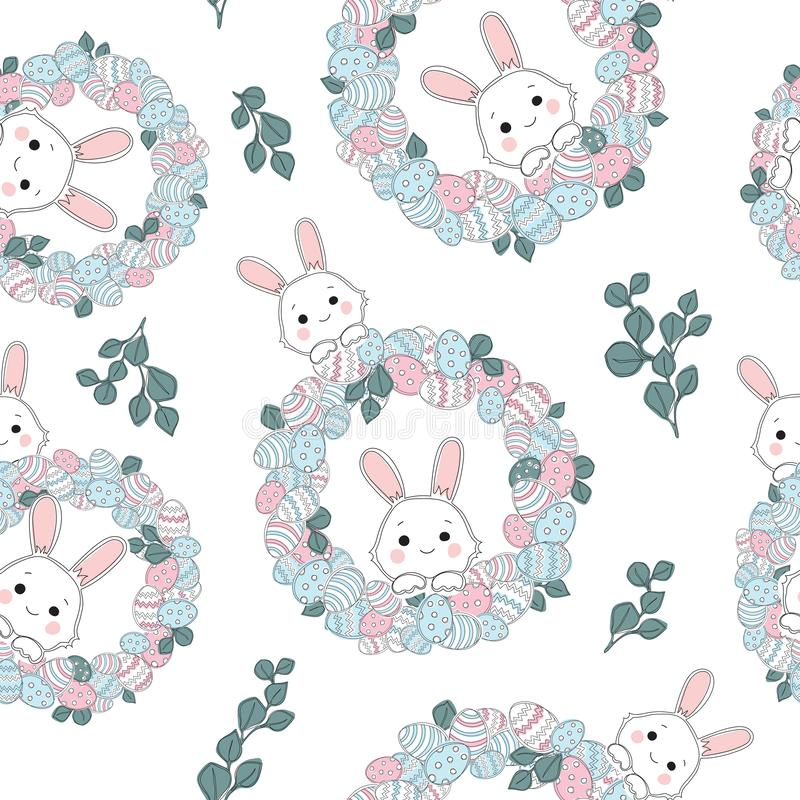 Hand drawn colorful Easter background. Spring Easter wreath of branches, leaves stock illustration