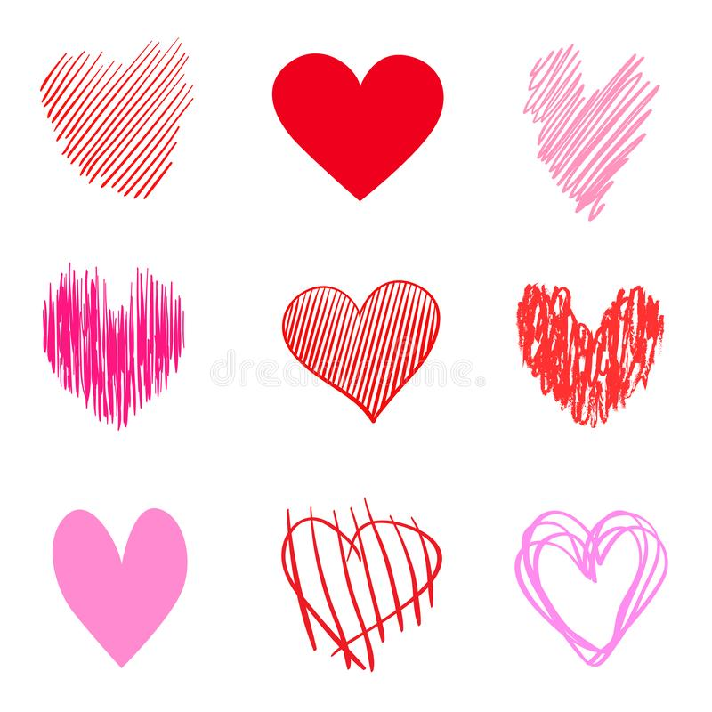 Art creative. Illustration. Hand drawn colorful hearts on isolated white background. Set of love signs. Unique abstract image for design. Line art creation stock illustration