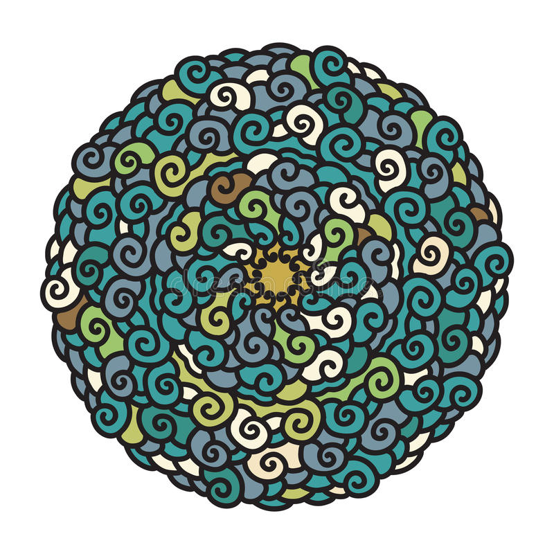 Hand drawn colorful Mandala in cold colors. On white background. Ethnic decorative element. Vector illustration stock illustration
