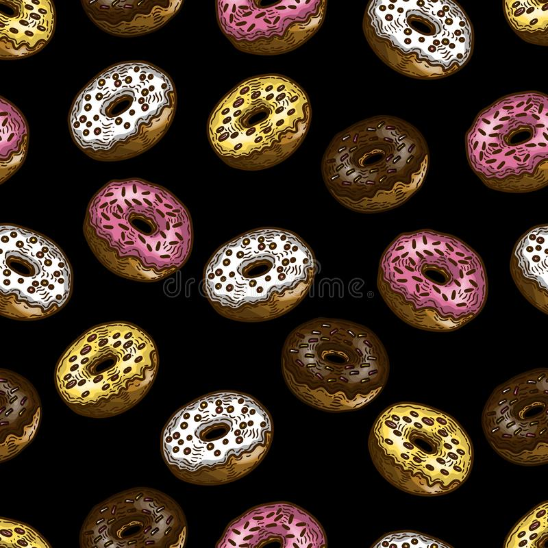 Hand drawn colorful seamless pattern of donuts in the engraving style on black background. vector illustration