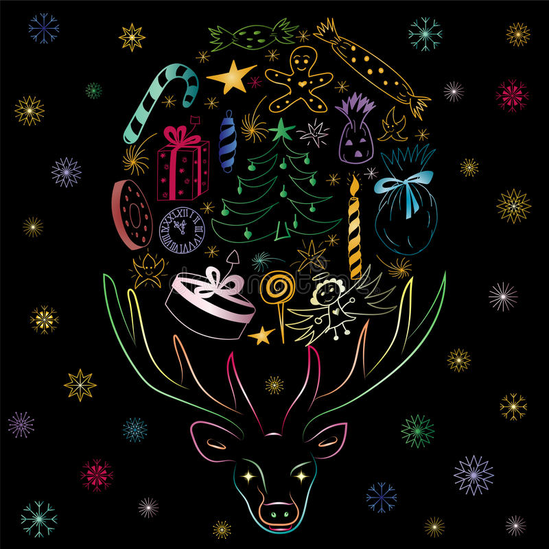 Hand Drawn Colorful Silhouette of Reindeer and Holiday`s Symbols. Arranged in a Shape of a Circle. Perfect for Festive Design.Vector illustration royalty free illustration