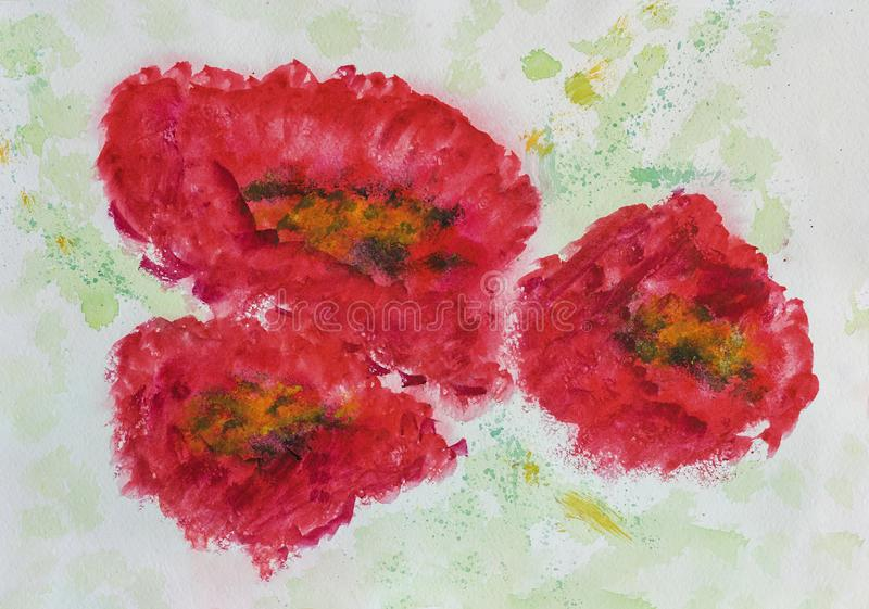 Hand drawn colorful Three red poppys close-up on white paper, spring and summer shades. Abstract watercolor, paper grain. Texture. Art design, banner vector illustration