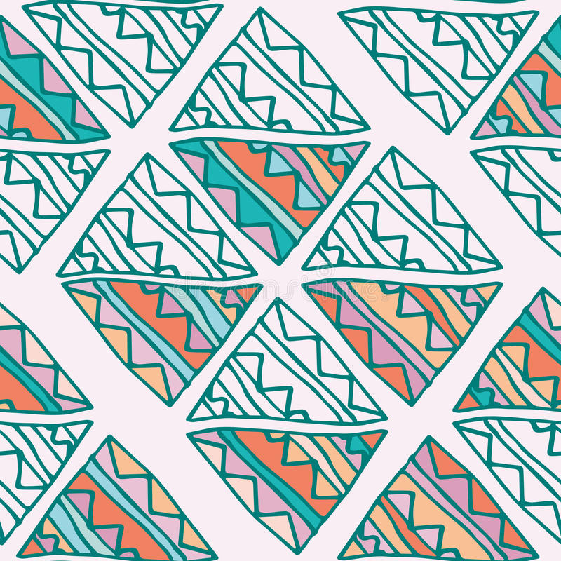 Hand drawn colorful triangle seamless pattern with green, pink, blue, orange details. Doodle triangles on beige. vector illustration