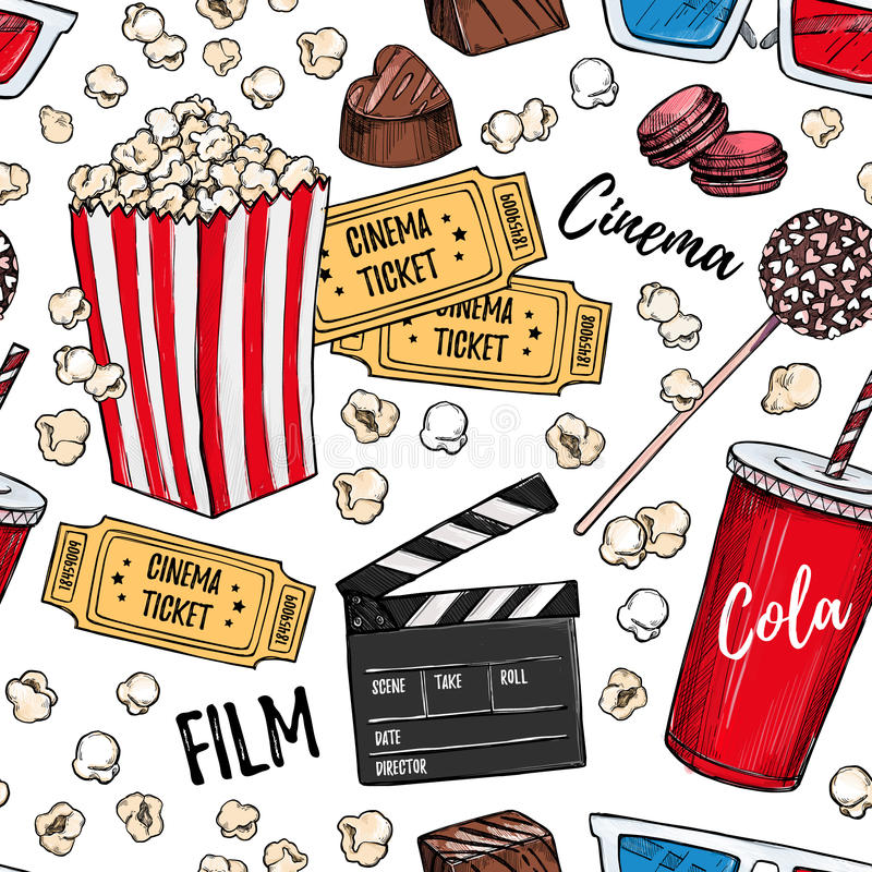 Hand drawn colorful vector seamless pattern - Cinema collection. stock illustration