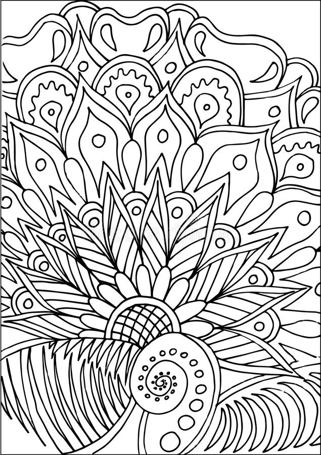 Hand drawn coloring with floral elements royalty free stock photo