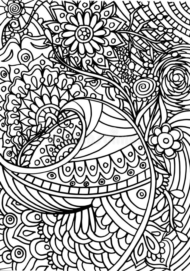 Hand drawn coloring with floral elements stock images