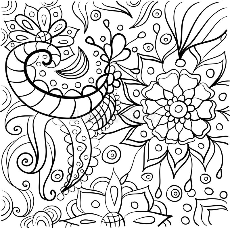 Hand drawn coloring with floral elements stock photos