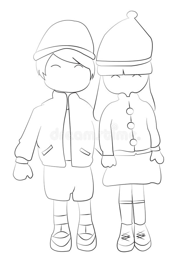 Hand Drawn Coloring Page Of A Boy And Girl Holding Hands Stock