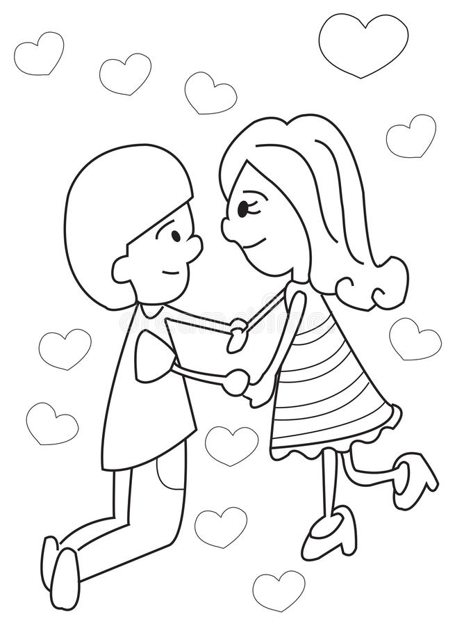 Download Hand Drawn Coloring Page Of A Boy And Girl Holding Hands Stock Illustration