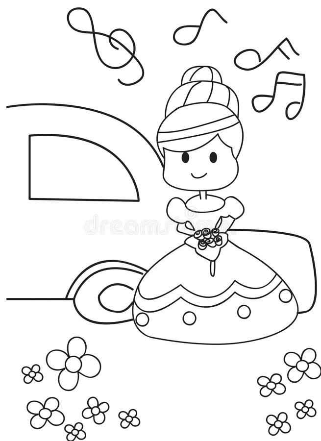 Hand Drawn Coloring Page Of A Bride Getting Married Stock ...
