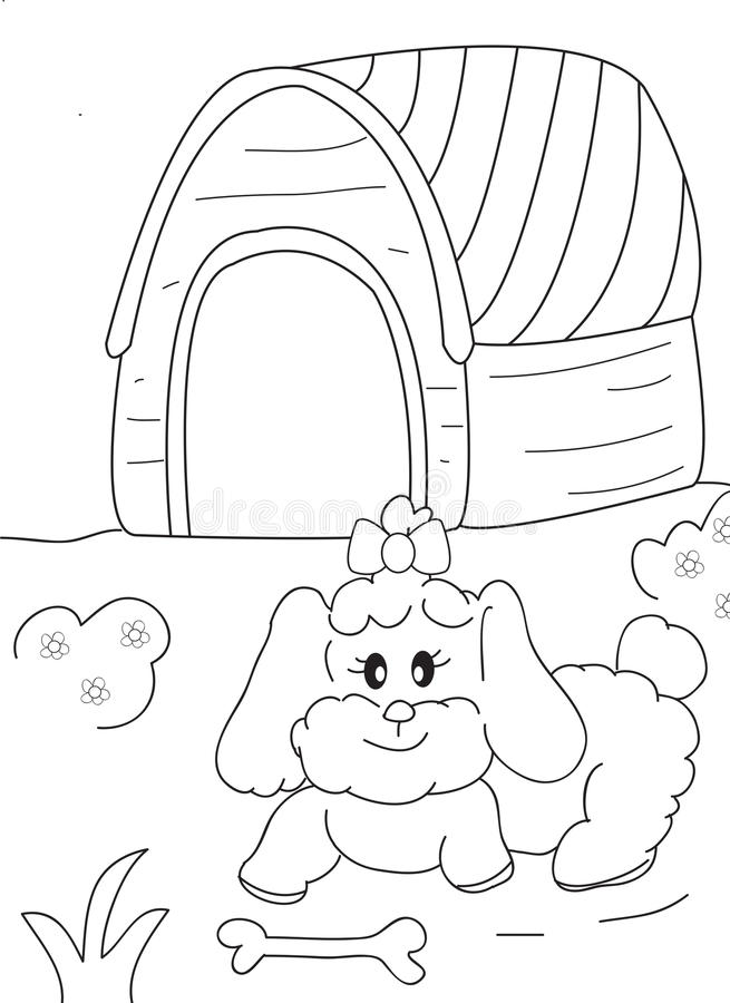 Hand Drawn Coloring Page Of A Female Dog Bone And Doghouse
