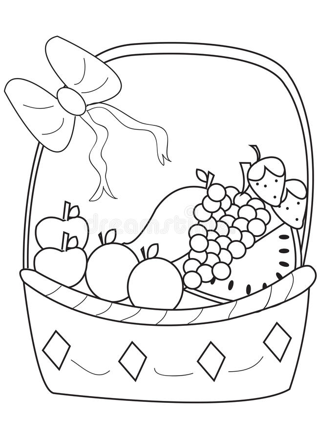 Download Hand Drawn Coloring Page Of A Fruit Basket Stock Illustration