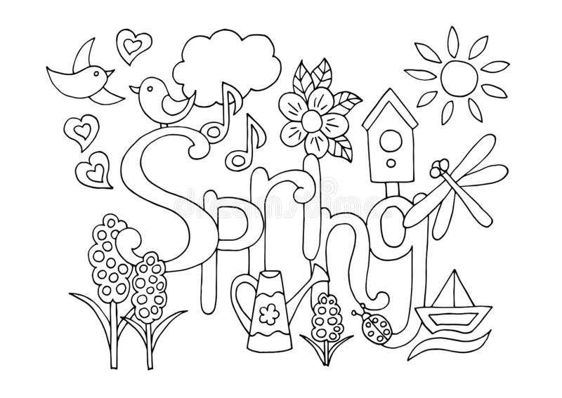 hand drawn coloring page spring theme adults children flowers birds birdhouse watering can sun dragonfly boat hearts