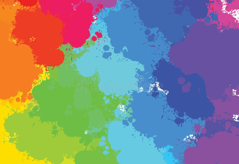 Hand-drawn colourful splashes pattern royalty free illustration