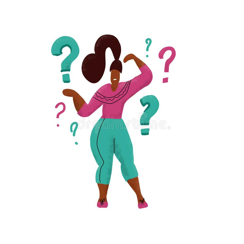 Hand drawn comic Woman with questions thinking and contemplaining on white. Thinking girl standing under question marks. Thinking royalty free illustration