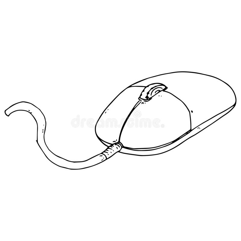 Hand drawn computer mouse with a scroll wheel. Mouse type manipulator. stock illustration