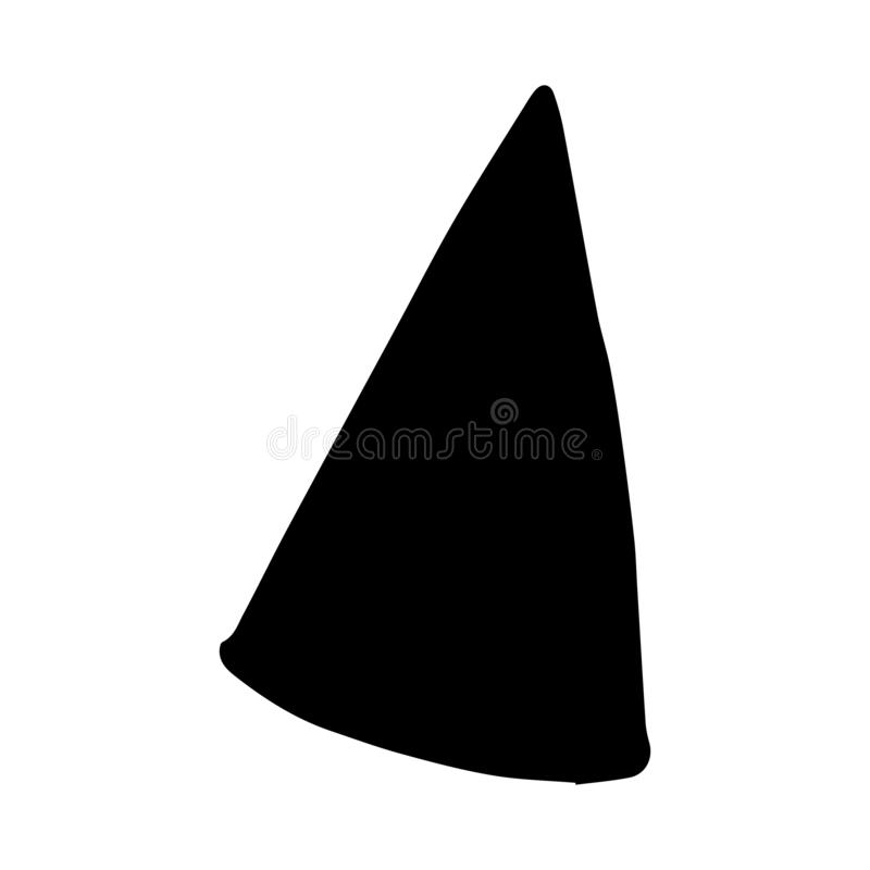 Hand Drawn cone hat doodle. Silhouette icon. Decoration element. Isolated on white background. Flat design. Vector illustration. Party, birthday, happy, fun royalty free illustration