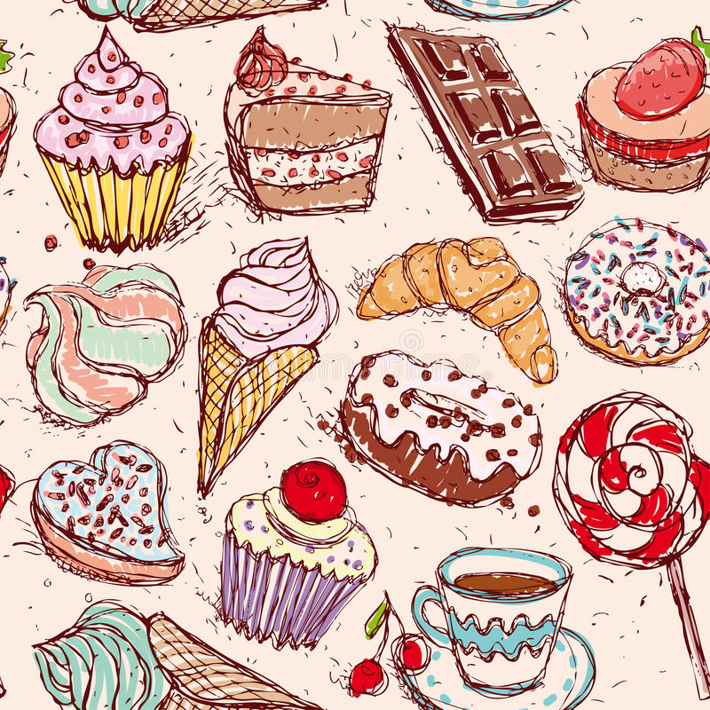 Hand drawn confectionery seamless pattern croissant Cupcake candy marshmallow ice cream cake donut and coffee. vector illustration