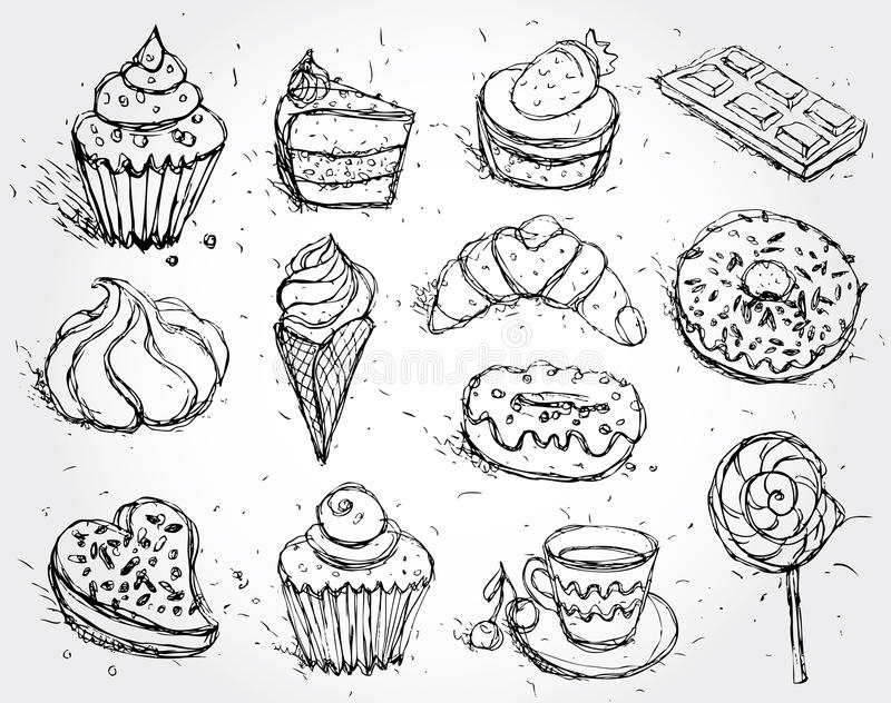 Hand drawn confectionery set croissant Cupcake candy marshmallow ice cream cake donut and coffee. vector illustration