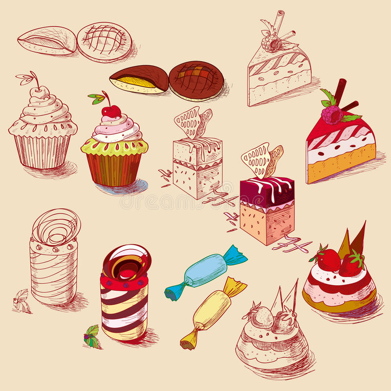 Hand drawn confections dessert pastry bakery. Products cupcake cookie muffin vector illustration