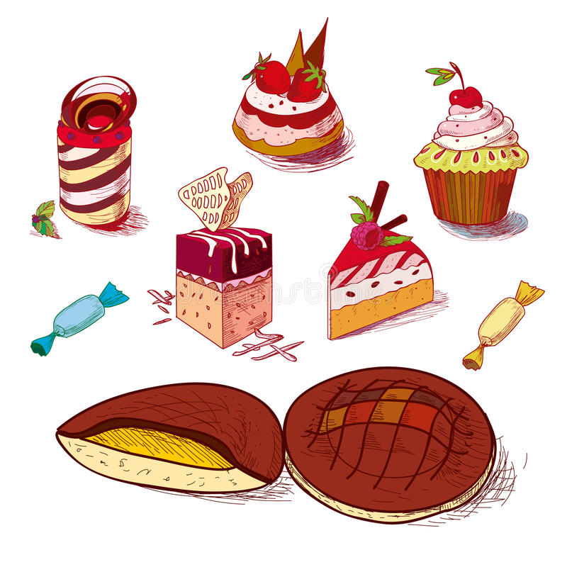 Hand drawn confections dessert pastry bakery. Products cupcake cookie muffin stock illustration