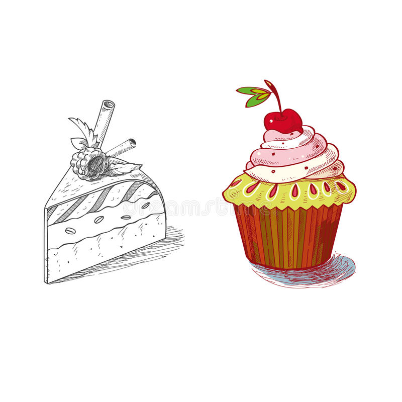 Hand drawn confections dessert pastry bakery. Products cupcake pie muffin royalty free illustration