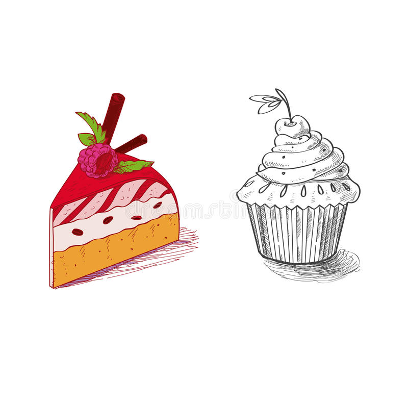 Hand drawn confections dessert pastry bakery. Products cupcake pie muffin stock illustration