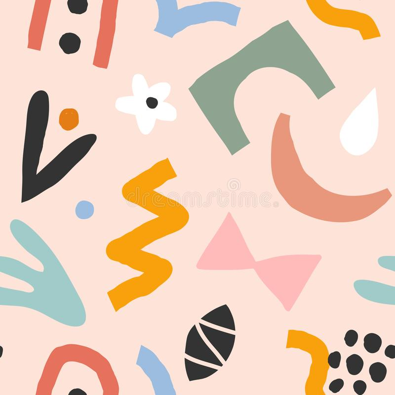 Hand drawn contemporary art abstract doodles made as seamless pattern. Abstraction drawings on colorful background. Trendy paper c. Ut style shapes. Flower vector illustration