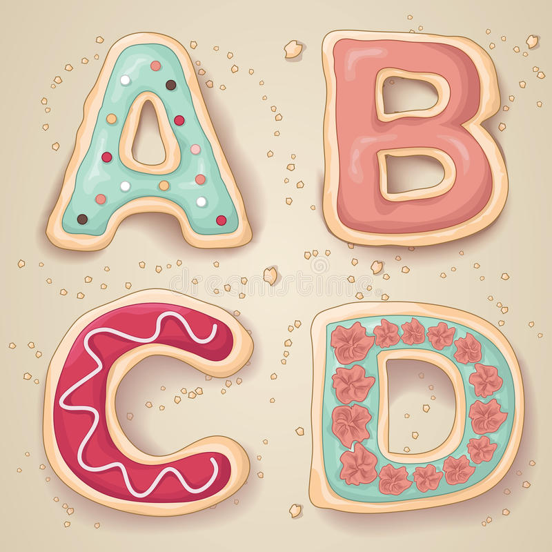 Free Hand Drawn Cookie Letters Stock Photo - 50576190