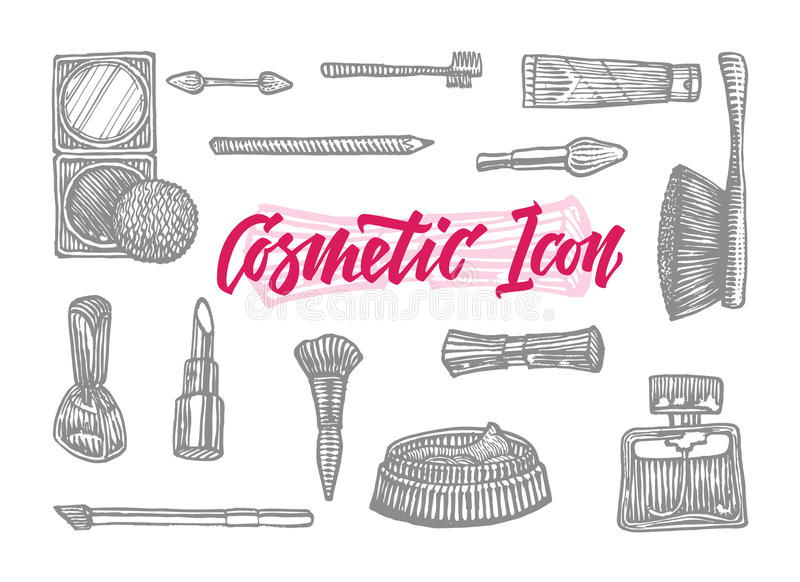 Hand Drawn Cosmetic Icons Set royalty free illustration
