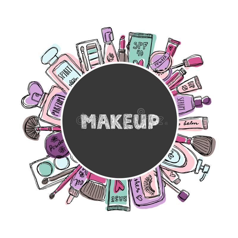 Hand drawn cosmetics set. Beauty and makeup. royalty free illustration