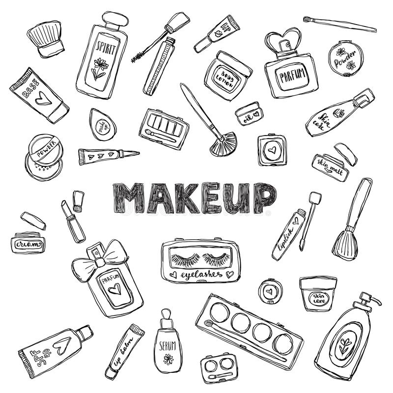 Hand drawn cosmetics set. Beauty and makeup. stock illustration